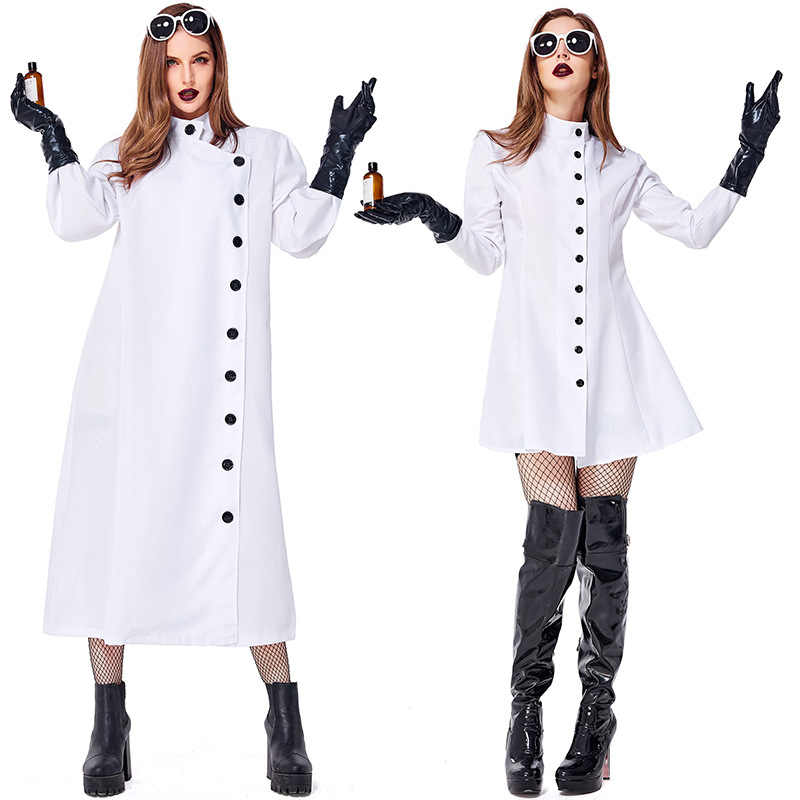 Adult  White Lab Coat Women man Doctors Scientist Nurse Uniform Dress Costume Medical Clothing Halloween cosplay costume