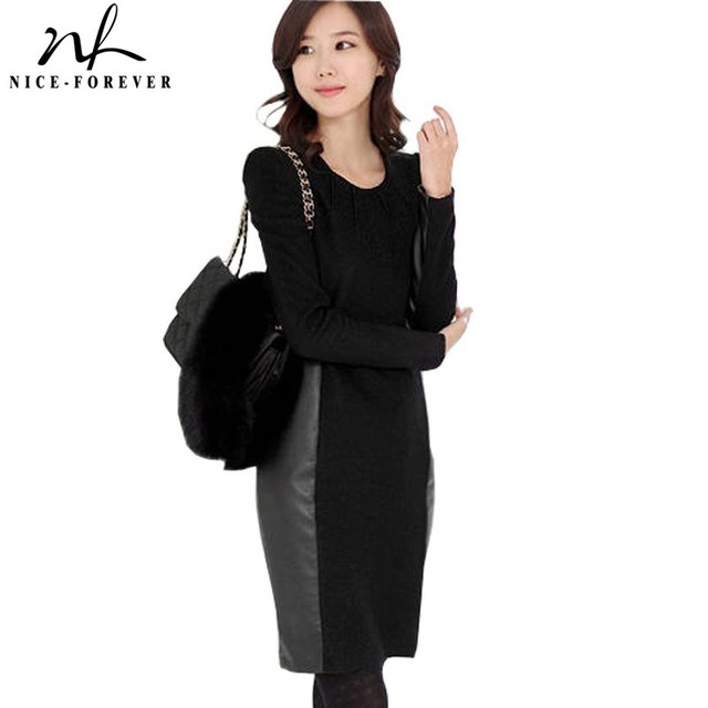 4ed748391 2014 Autumn Winter Elegant Women Career Contrast Long Sleeve Knee Length  Faux PU Patch Work BTY528