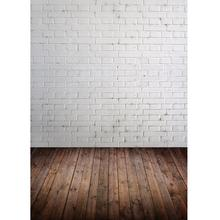 White Brick Wall Brown Floor Photography Background for Photo Studio Vinyl Cloth Portrait Photo Backdrop for Kid Baby Photophone