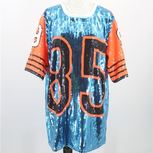 Image 2 - Feminino desempenho trajes cheerleaders solto oversized causal 85 carta mudança de lantejoulas t camisa mini vestido hip hop longo t