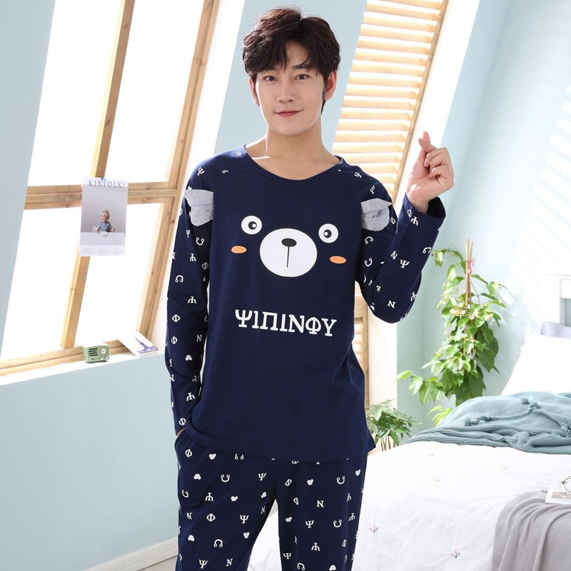 High Quality Cotton Pajamas Sets For Men 2018 Autumn Winter Long Sleeve O-neck Cartoon Pyjamas Homewear Male Lounge Home Clothes