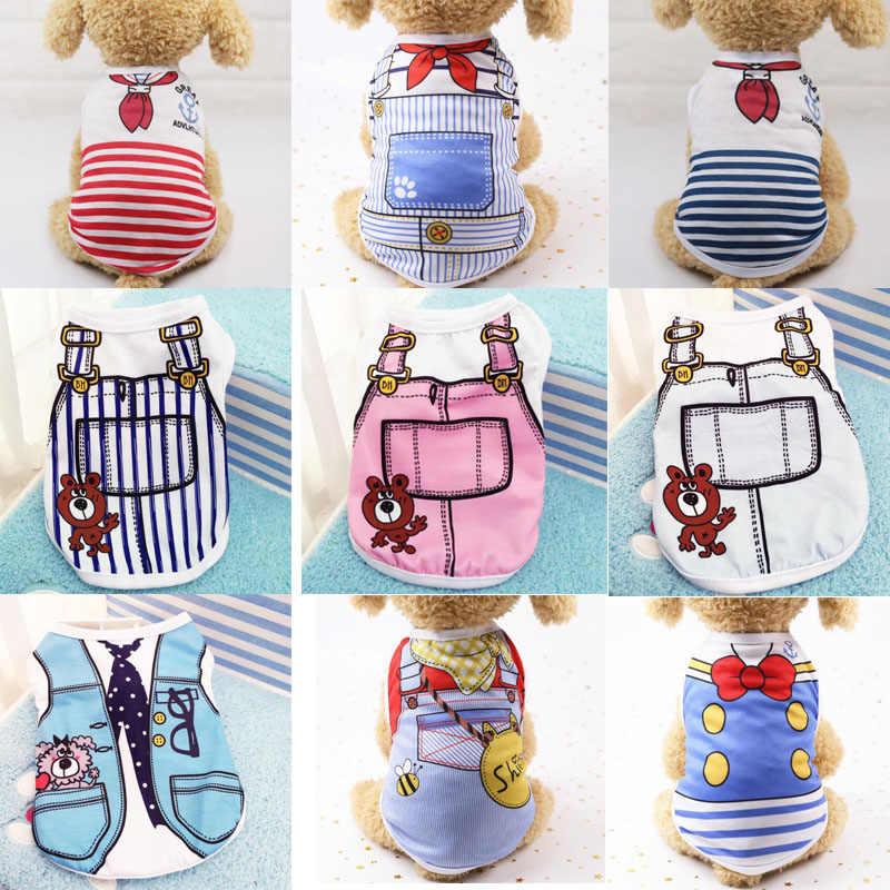 25 スタイル犬シャツペット子犬犬猫のベスト夏の綿の漫画パターン犬服パーカー服パグプードル衣装 tシャツ
