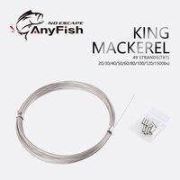 Anyfish 킹 고등어 10 m 49 스트랜드 7x7 스테인레스 스틸 상어 낚시 리더 라인 와이어 케이블 낚시 라인 낚시 액세서리