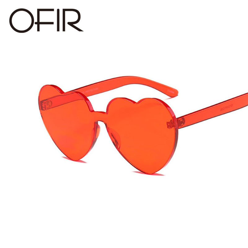 OFIR 2019 Love Heart Shape Sunglasses Women Siamese Rimless Frame Tint Clear Lens Colorful Sun Glasses Red Pink Yellow Shades