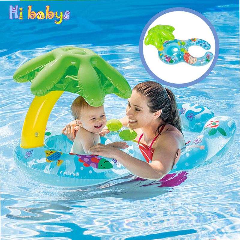 Baby Swim Ring Kid Double Pool Swim Float Sun Protection Inflatable Ring Sunshade Children Safety Pool Toys Swim Ring Seat