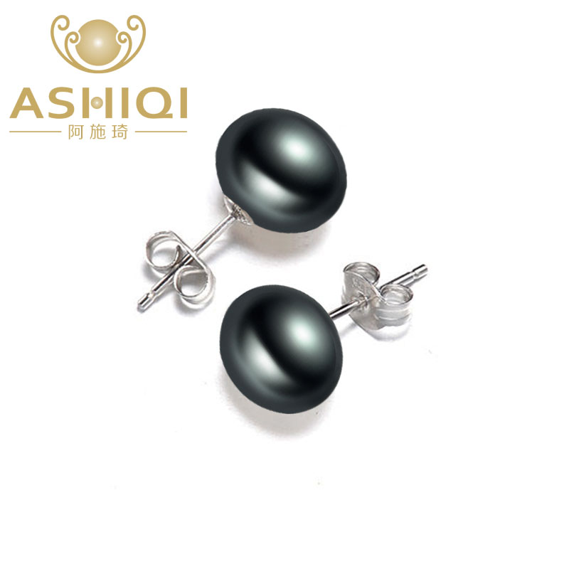 ASHIQI 925 Sterling Silver Pearl Stud Earrings For Women Black Natural Freshwater Pearl Jewelry New Fashion