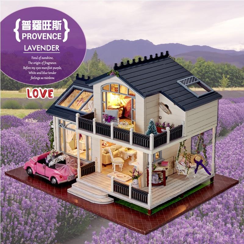 DIY LED Provence Lavender Flower Children Doll Houses Manually Assembled Wood Light Music Model House Girl Birthday Present