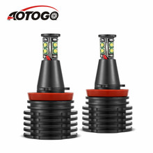 2Pcs Error Free LED Angel Eyes Marker Lights Bulbs 80W LED Angel Eyes Halo Light H8 Bulb For BMW E90 E92 E82 E60 E70 X5 X6 цены
