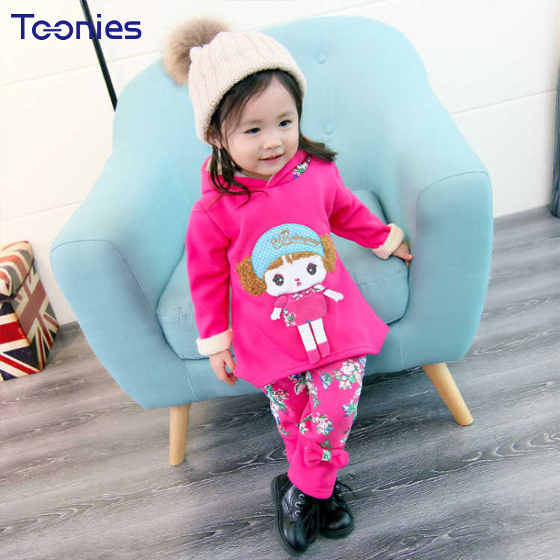 Toddler Girl Clothes Baby Girl Pants Suit 2018 New Winter Infant Clothing Sets Long Sleeve Kids Hooded Sportswear Cartoon Floral