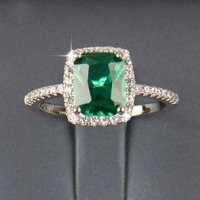 2016 R J 3 0Ct New Fashion 925 Sterling Silver Ring Natural Emerald Luxury Jewelry Brand