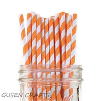 400pcs Lot Orange Paper Straws For Kids Birthday Wedding Decorative Party Event Supplies Creative Drinking Straws