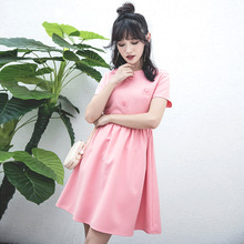 2017 Summer Women Short-sleeve O-neck Solid Pink Floral Embroidery Patchwork Slim Casual Dress