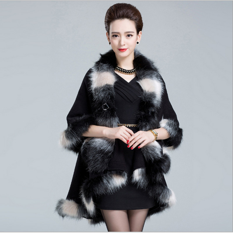 Luxury 2019 Faux Fox Fur Poncho Coat Autumn Winter Knitted Cardigan Wool Cashmere Women's Capes And Ponchos Thick Blanket Scarf