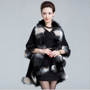 Faux Fox Fur Mixed Colors Poncho Coat Autumn Winter Fashion Knitted Cardigan Wool Cashmere Women's Capes and Ponchoes