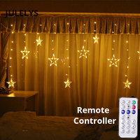 JULELYS Remote Control LED Star Curtain Light Gerlyanda Christmas Garland Window LED Lights Decoration For Wedding Holiday Party