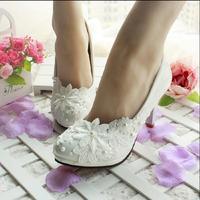 3 cm/4.5 cm/8.5 cm/11 cm 2015 de primavera y verano de las mujeres zapatos de boda blanco zapatos de novia de encaje de perlas novia de Dama