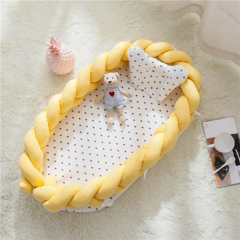 90X55cm Baby Nest Bed Crib Portable Bebe Cot Travel Bed For Children Infant Kids Cotton Cradle Folding Baby Bed