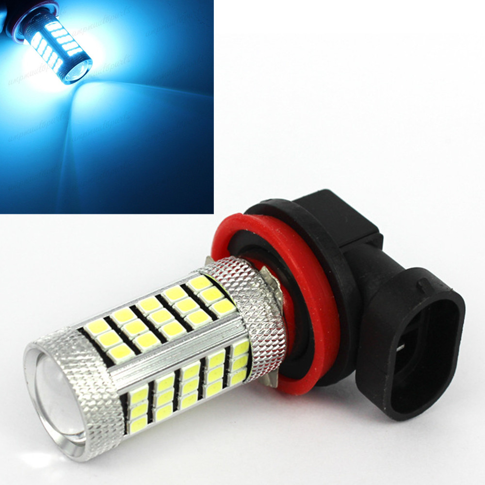 CYAN SOIL BAY H11 H8 Ice Blue 63 66 SMD Projector Chips LED Bulbs Car Driving Fog Lights Lamp 12V Bright Than 33 SMD  h7 2835 63 66 smd led px26d projector fog driving light bulb blue car lamp source bright than 33 smd