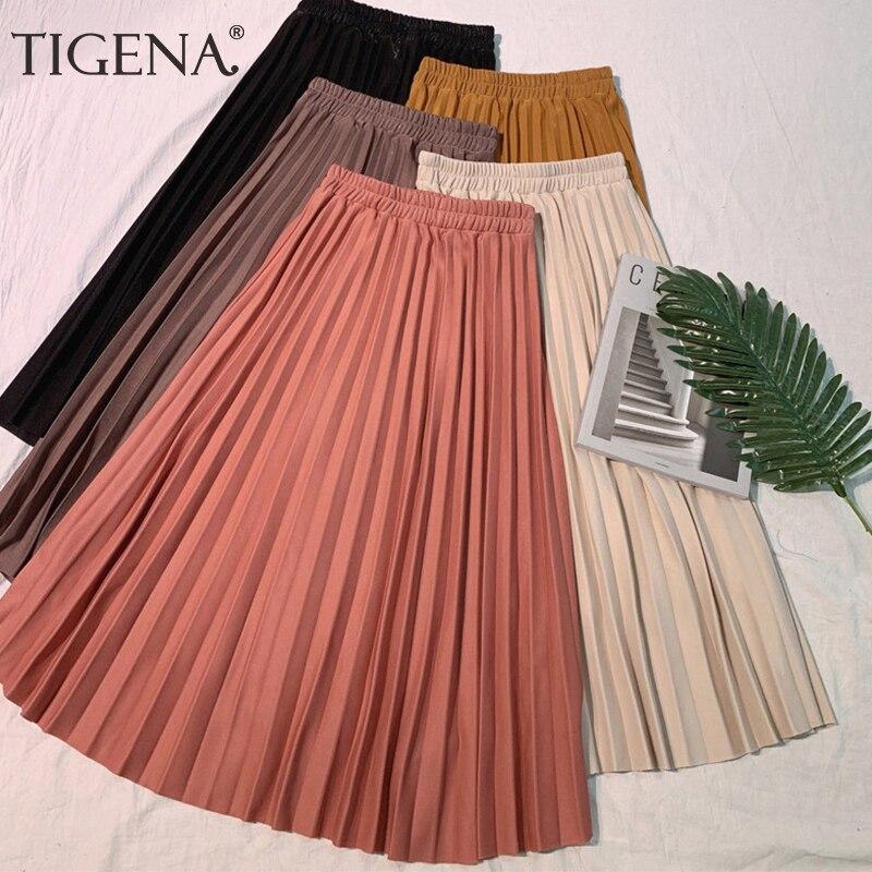 TIGENA High Waist Pleated Skirts Women Fashion 2019 Summer A Line Vintage Elegant Midi Long Skirt Female School Sun Skirt Black