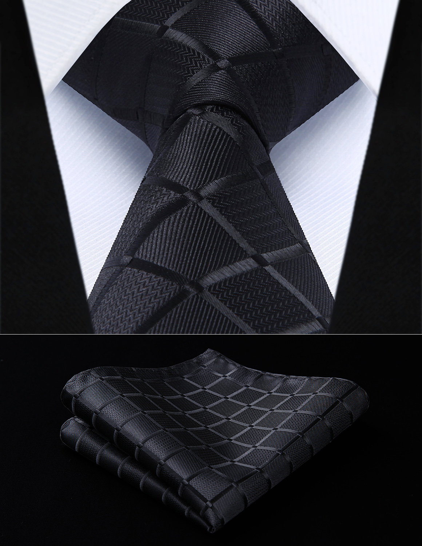 Party Wedding Classic Pocket Square Tie TC442L8S Black Check 3.4