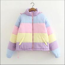 winter new apanese Harajuku Ma Caron fight color girl series loose bread  warm  jacket