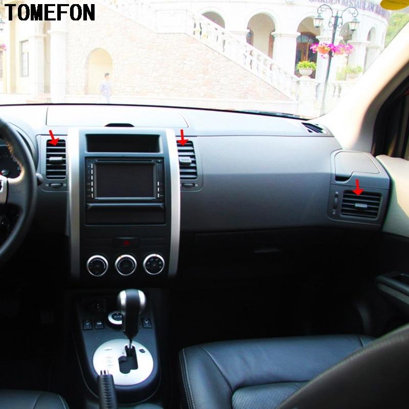 TOMEFON Pour Nissan X-trail T31 ABS Chrome Avant Air Vent couverture Garniture Milieu Intérieur XTrail X Trail 2008 à 2013 voiture-Style