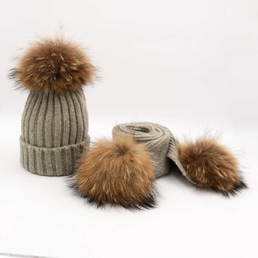 Зимние вязаные наборы шарф шапка с помпоном для женщин и детей от 1 до 6 лет однотонные Детские шапочки шапки женские шарфы с помпоны из меха енота