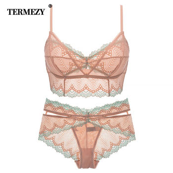 Brands lace Underwear Flower rim lace lingerie set Ultra-thin Bralette bra brief sets Soft Comfortable intimate lingerie 1