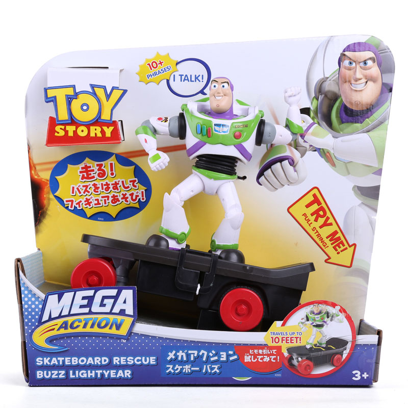 Anime Cartoon Toy Story 3 Buzz Lightyear Skateboard Rescue PVC Action Figures Collectible Toys 18cm DSFG181 original toy story 3 buzz lightyear robot light voice elastic wings 30cm action music anime figure kids toys for children p2