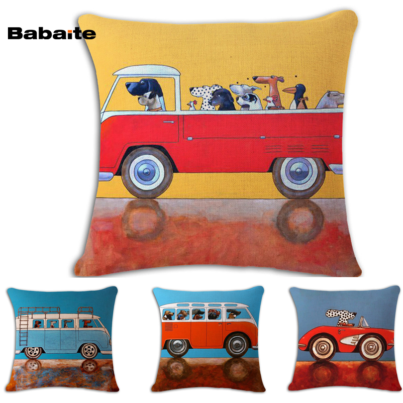 Vintage Linen Pillow Cover Retro Bus Dogs Driving Cute Puppies Nice Soft Throw Pillowcase 45*45cm One Side Print