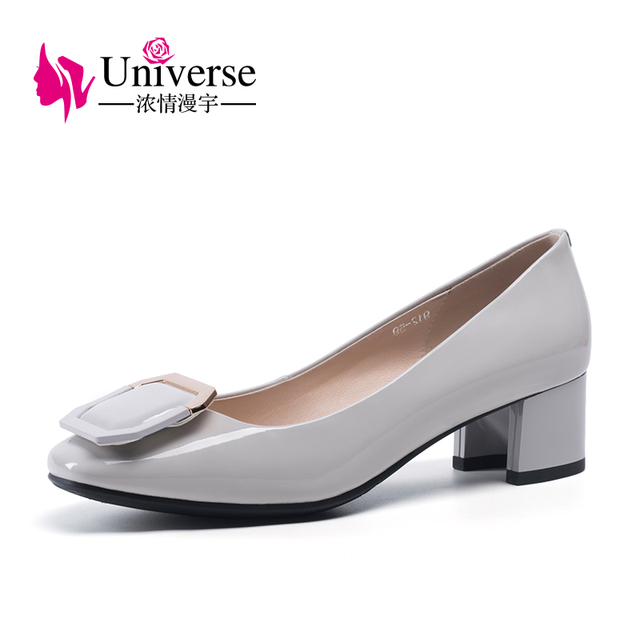 """Leisure Patent Leather Round Toe Women Pumps Universe Light Grey 4.5cm/1.77"""" Square Heel Slip-on Fashion Casual Dress Shoes H125"""