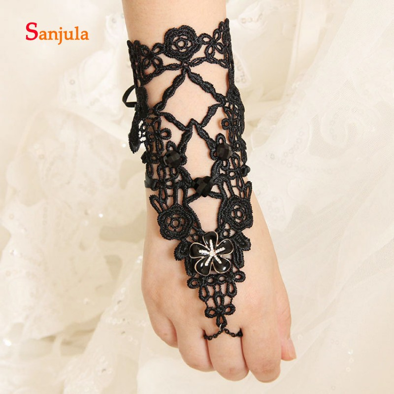 Middle Length Gloves For Bridal Fingerless Hollow Black Lace Mysterious Party Gloves Accessories For Wedding Akcesoria SlubneG63