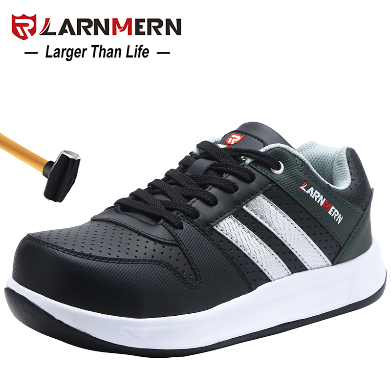 LARNMERN Men Steel Toe Cap Work Safety Shoes Breathable Outdoor Security Footwear For Man Construction Sneaker