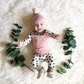 2017 nova moda bebê roupas de menina manga comprida patchwork pontos encantadoras topos + calça + chapéu 3 pcs/suit conjunto de roupas da criança recém-nascidos