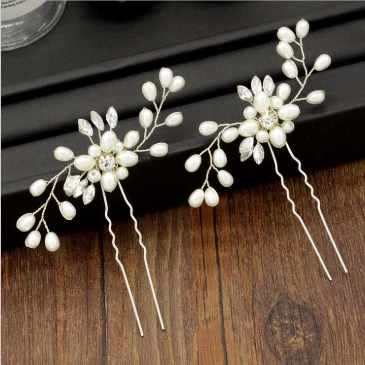 Невесты элегантный розовое золото цвет свадебные аксессуары для волос жемчужные шпильки с цветком шпильки для волос модные свадебные украшения для волос