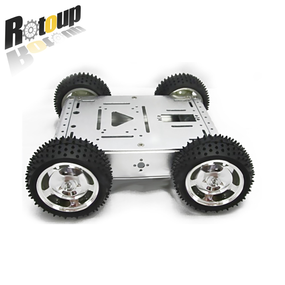 Rotoup 1set 4WD Smart Robot Car Chassis Kits 4wd metal motor full aluminum alloy robot chassis kit for arduino Diy Kit #RBP047 4wd 60mm mecanum wheel arduino robot kit 10021