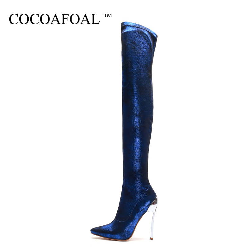 COCOAFOAL Winter Women's Over The Knee Boots High Heel Woman Thigh High Boots Blue Sexy Plus Size 33 43 Fashion Sexy Shoes 2018