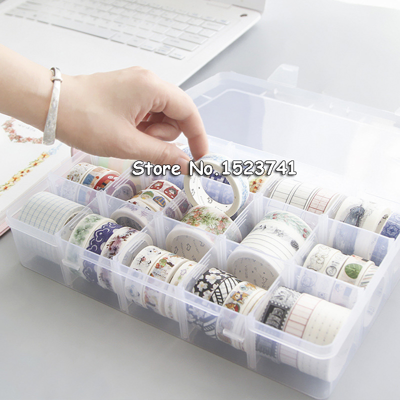 Desk Accessories & Organizer Simple Style 15 Fractional Tape Storage Box Transparent Paper Washi Tape Box School Stationery Holder Home Decoration Office & School Supplies