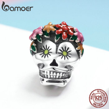 BAMOER Halloween Collection 925 Sterling Silver Flower Skull Charms Colorful Enamel Beads fit Women Bracelets DIY Jewelry SCC888 1