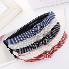 Fashion Bow-Knot Hairband Women Hair Head Hoop Plaid Sweet Girls Headband(China)
