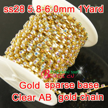 Crystal clear ab Rhinestone Cup Chain crystal 28ss 6mm 1yard top shiny glass crystal in gold Chain Trims sew crystals