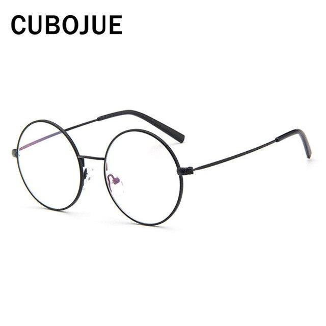 280c060941f43 Cubojue Lunettes Rondes Hommes Femmes Métal Homme Nerd Points Vintage  Lunettes avec Optique Objectif Clair Cercle