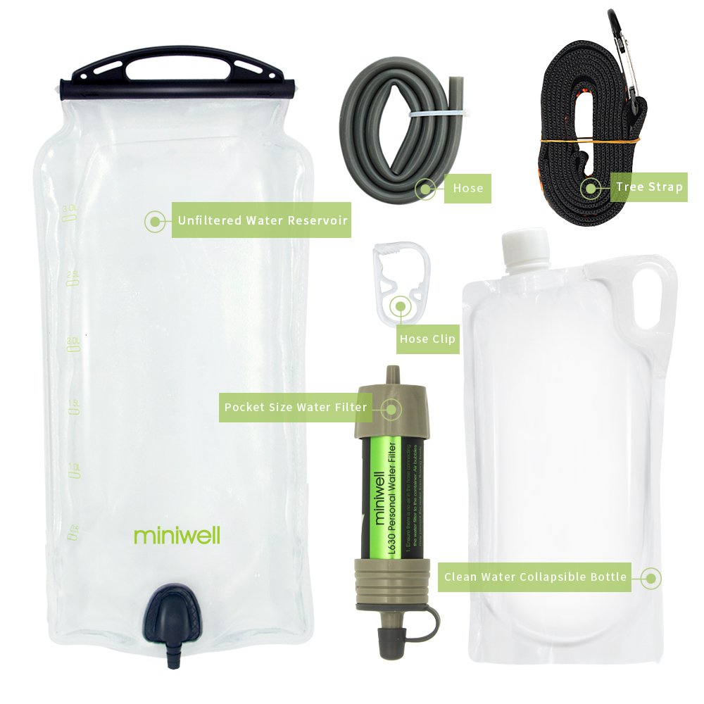 miniwell Gravity Water Purifier with Water Reservoir good for hiking camping survival and travel