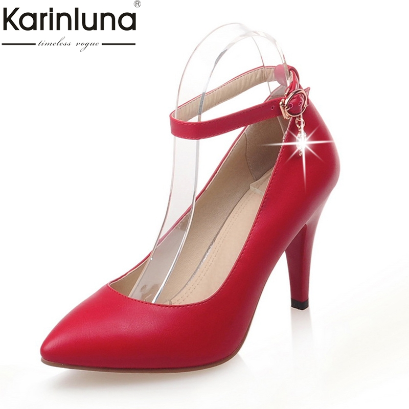 Karinluna 2019 Plus Size 32-43 Dropship Party OL Ankle-strap Women Shoes Woman Thin High Heel Pointed Toe Sandals Woman Pumps
