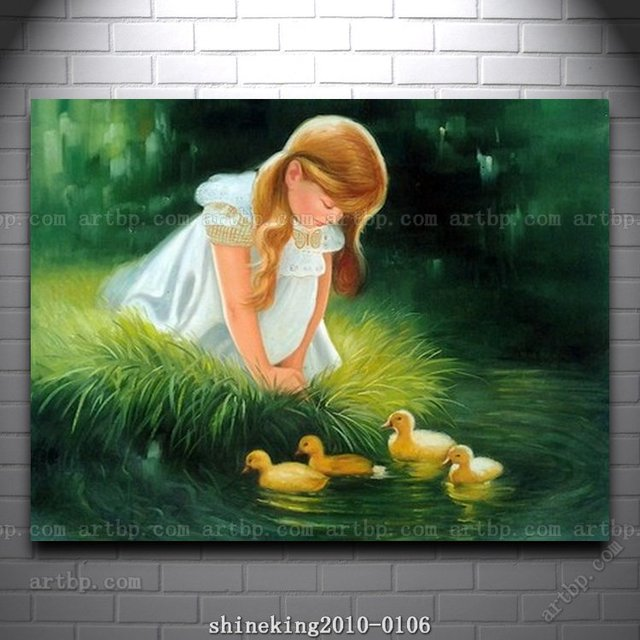 Handmade Children Oil Painting On Canvas Girl and Duckling hall