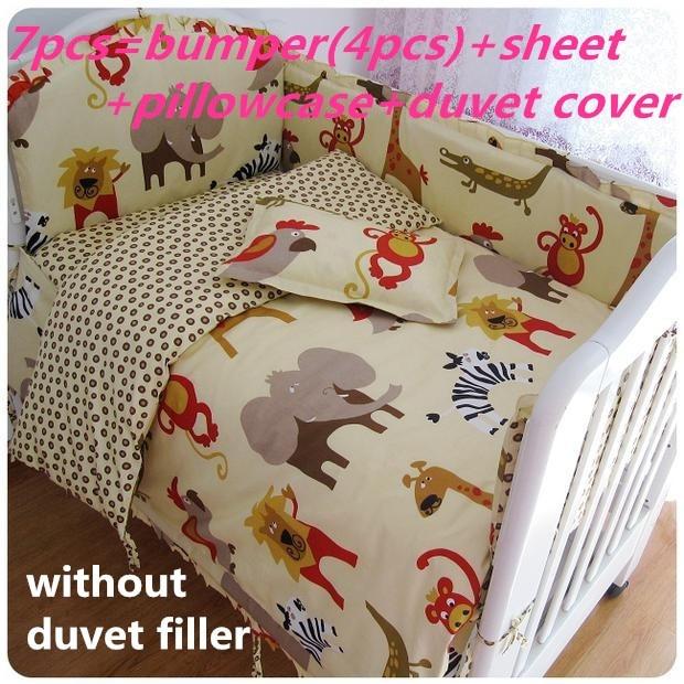 Discount! 6/7pcs baby bedding set crib bumper crib bed around cot nursery bedding ,120*60/120*70cm