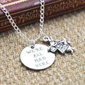 12pcs/lot Alice in Wonderland We're all MAD here  Necklace  rabbit charm jewelry silver tone