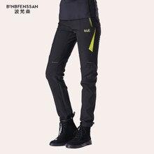 אופנה חדשה חורף נשים טיולים מכנסיים חיצוני Softshell מכנסיים עמיד למים Windproof תרמית עבור קמפינג סקי טיפוס 1817B