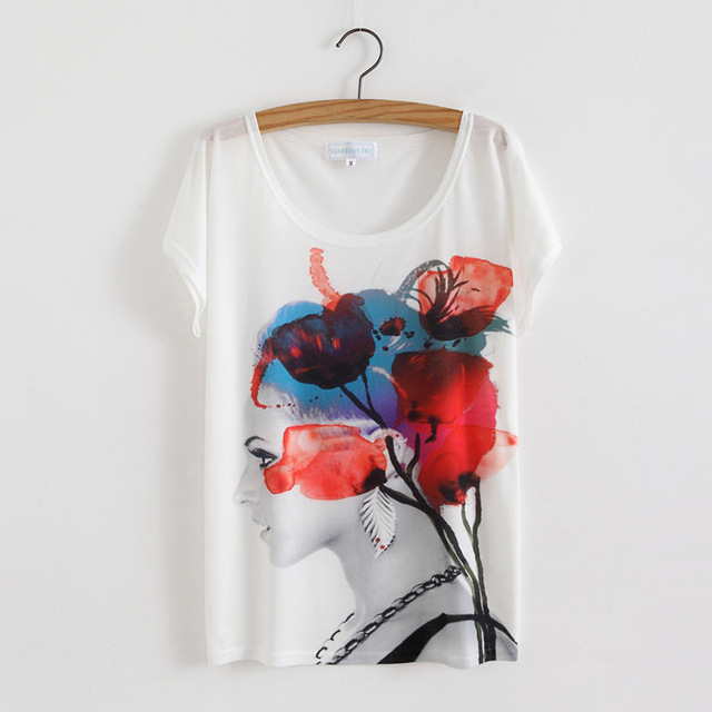 29 Styles Floral Print Basic T Shirt for Women