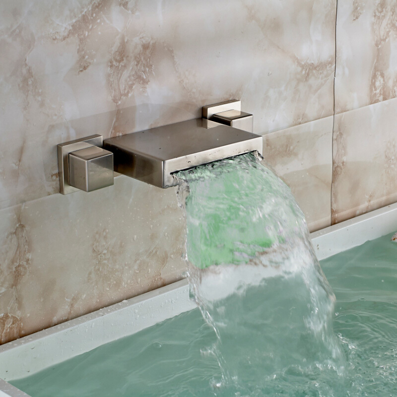 Wall Mounted Color Changing LED Waterfall Spout Basin Sink Faucet Dual Handles Brushed Nickel Finish